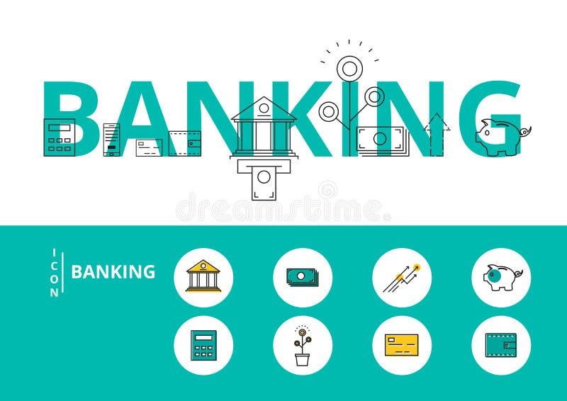 平的线设计与象和元素的词银行业务概念 皇族释放例证