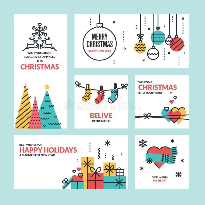 平的线设计圣诞节和新年的概念 向量例证