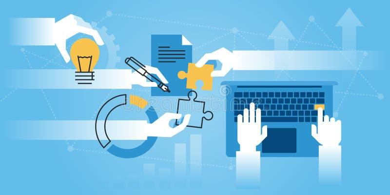 平的线设计网站横幅大约美国公司信息 向量例证