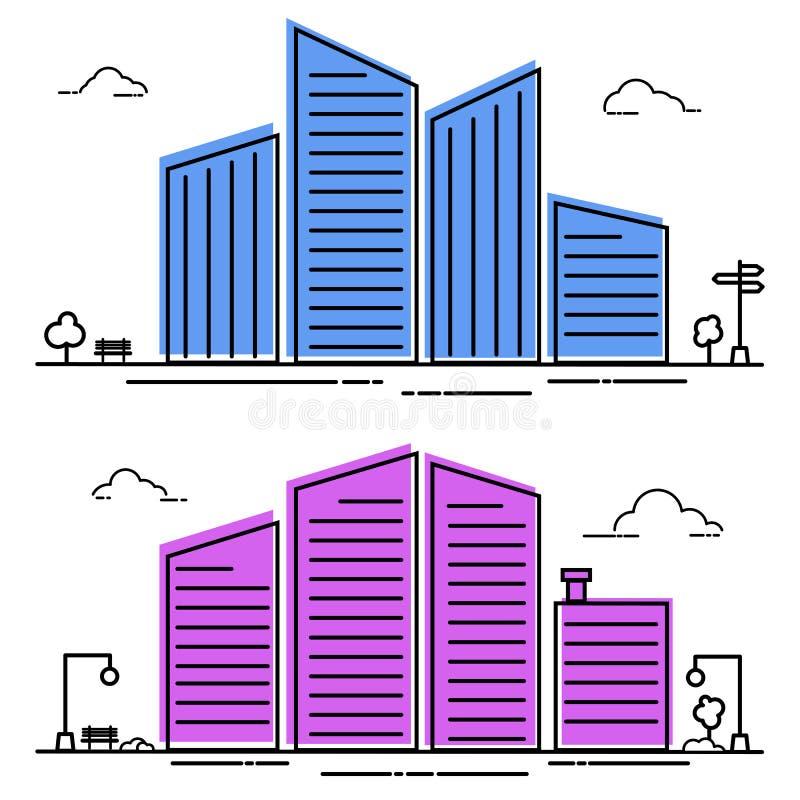 平的线设计都市风景 在平的样式的城市分界线风景 也corel凹道例证向量 皇族释放例证