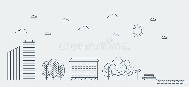 平的线都市风景的设计图表图象概念 也corel凹道例证向量 向量例证
