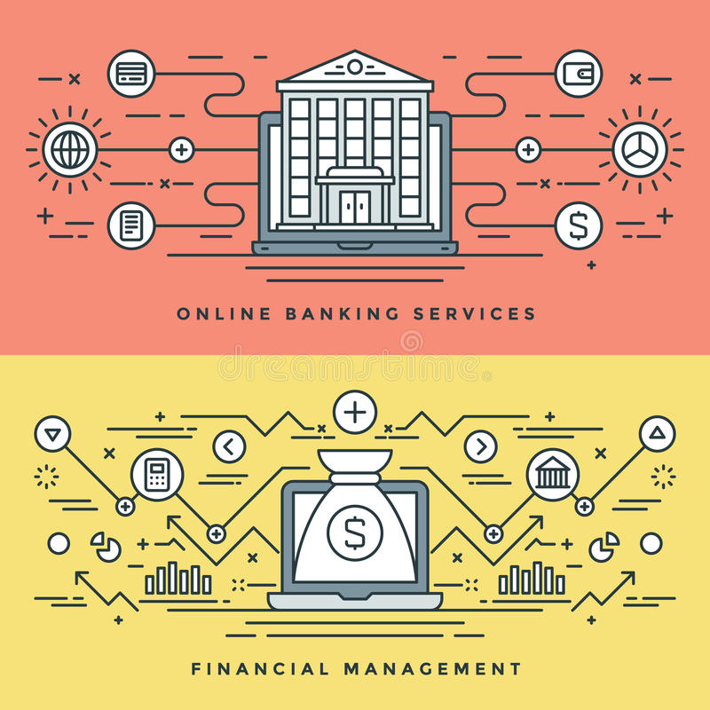 平的线银行业务和财务管理概念导航例证 现代稀薄的线性冲程传染媒介象 库存例证
