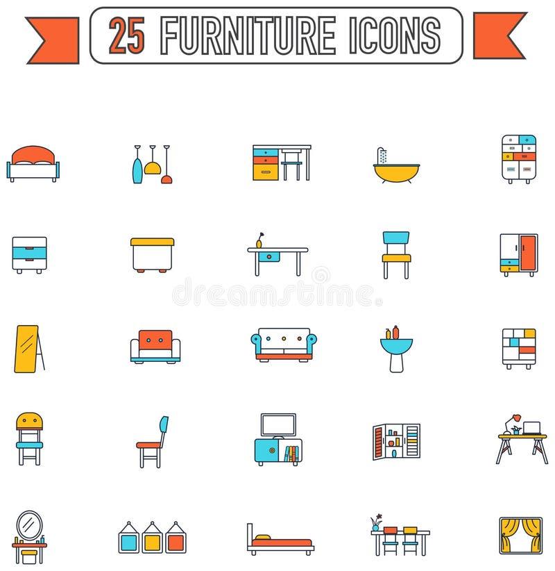 平的线颜色家具和家电内部 皇族释放例证