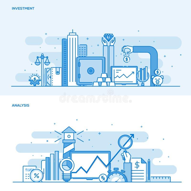 平的线颜色概念投资和分析 皇族释放例证