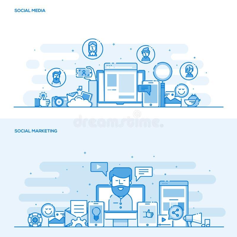 平的线颜色概念社会媒介和社会营销 皇族释放例证