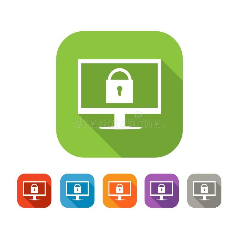 平的网安全象彩色组  库存例证