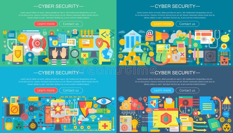 平的网络安全设计观念集合的传染媒介汇集 云彩数据服务、计算机保护和黑客攻击 皇族释放例证