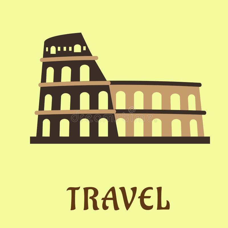 平的罗马斗兽场圆形露天剧场在罗马 向量例证