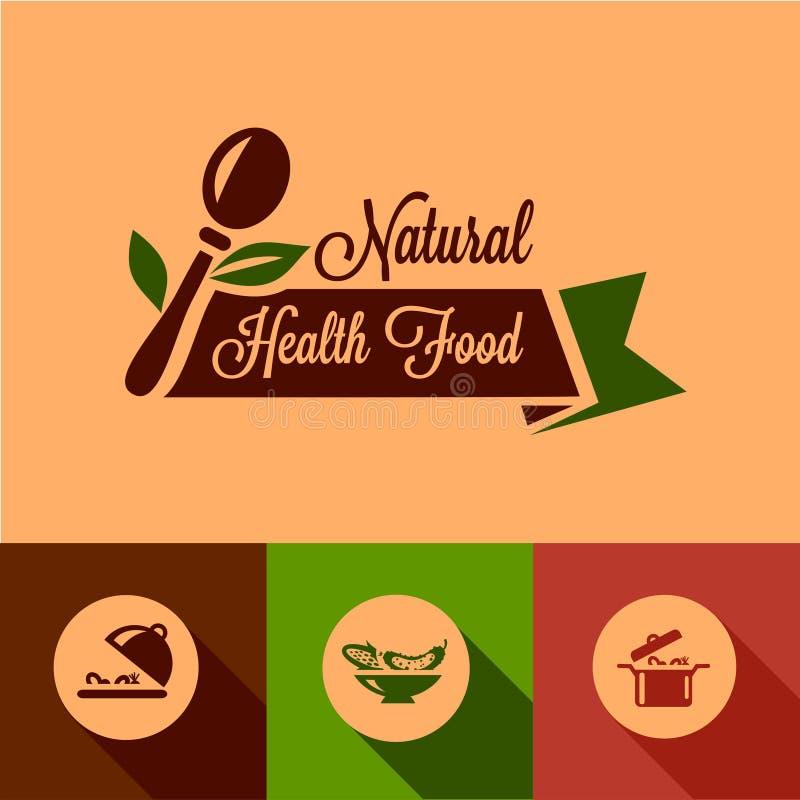 平的自然食物设计元素 向量例证
