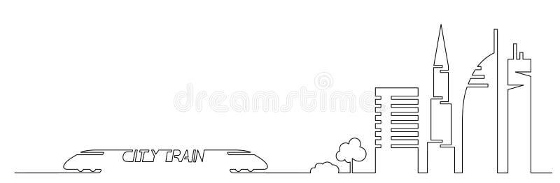 平的艺术性的一条线设计传染媒介城市火车和城市大厦,摩天大楼,树塑造在简单派slyle画的剪影 向量例证