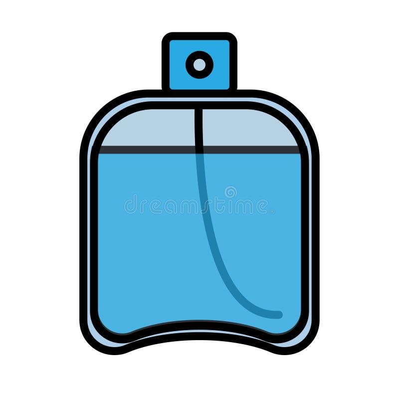 平的蓝色象是简单的时兴的迷人的化妆用品,有香水的,adicolon,与宜人的润肤水玻璃瓶 库存例证
