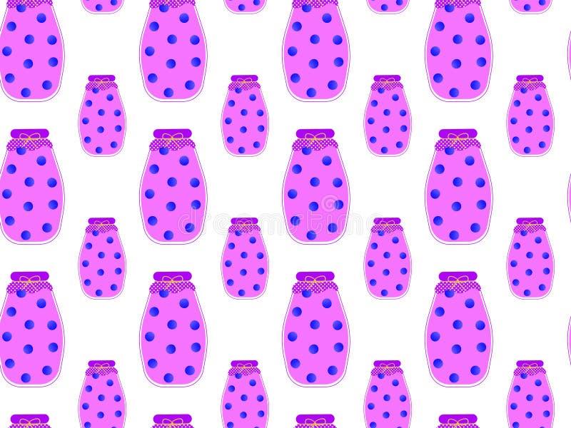 平的蓝莓蜜饯的无缝的样式在玻璃瓶子的用莓果里面在白色背景 库存例证