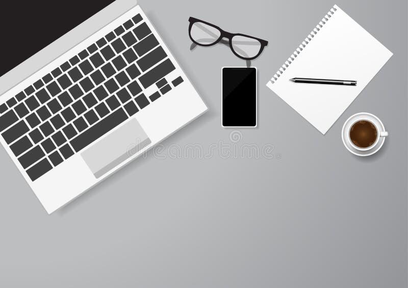 平的被放置的顶视图嘲笑与现实手机、膝上型计算机、笔记本和咖啡 向量例证