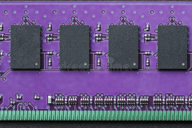 平的计算机存贮器DIMM RAM位置图表静物画的特写镜头  免版税库存图片