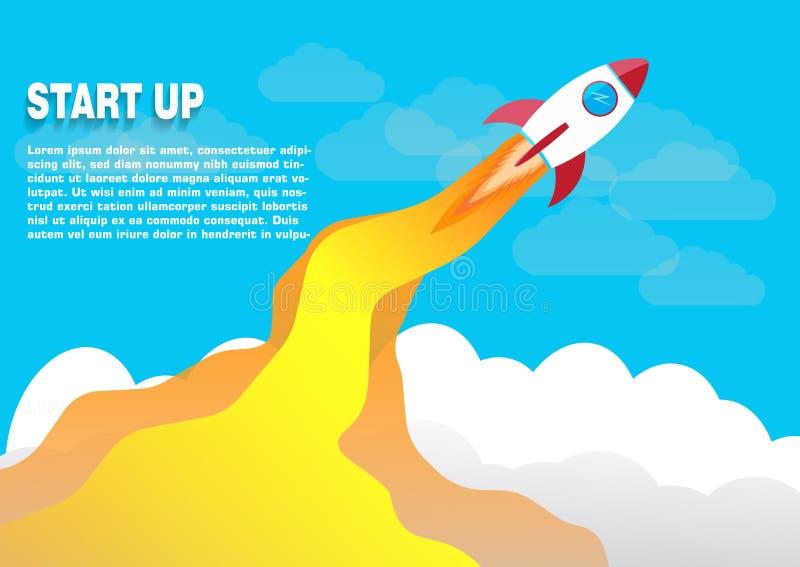 平的设计事务开始与火箭象的发射概念 向量例证