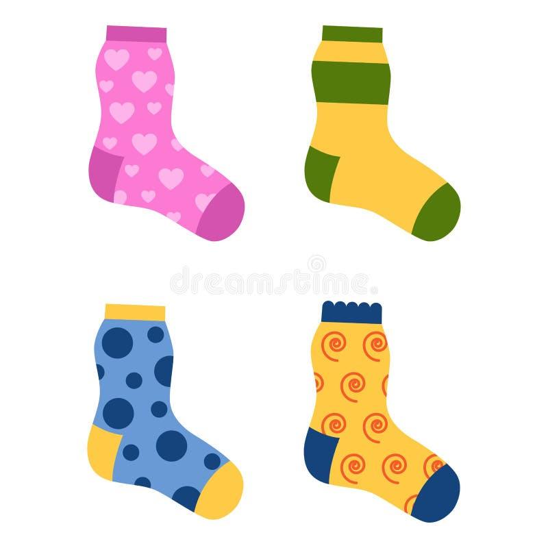 平的设计五颜六色的袜子被设置的传染媒介例证 向量例证
