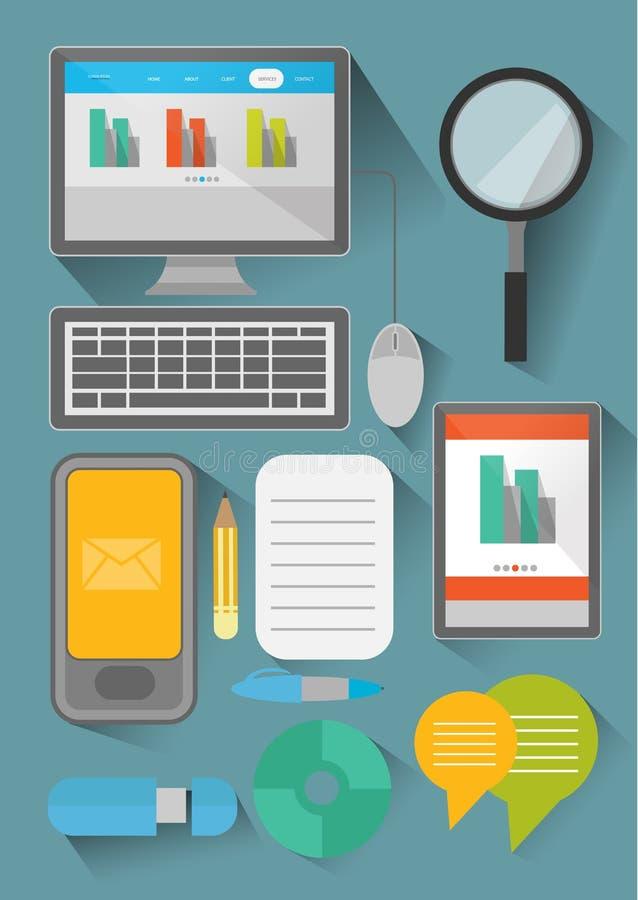 平的设计企业和办公室元素 免版税库存图片