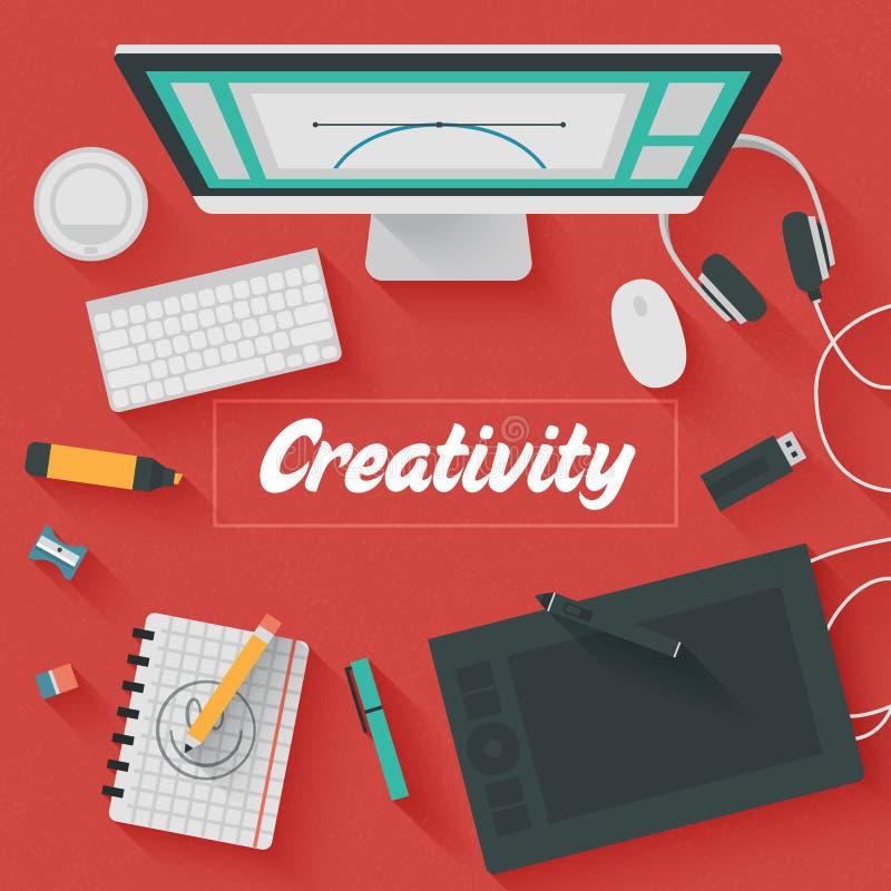 平的设计例证:创造性的办公室 皇族释放例证