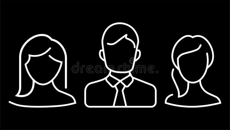 平的设计具体化app象设置了用户面孔人人妇女传染媒介 皇族释放例证