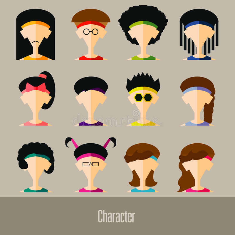 平的设计具体化app象设置了用户面孔人人妇女 传染媒介例证设计 库存例证