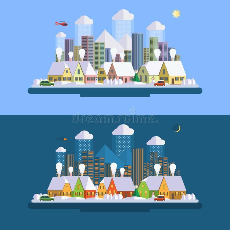 平的设计冬天都市风景例证 向量例证