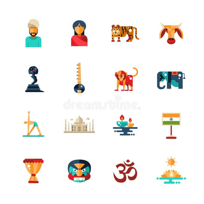 平的设计印度旅行象,与印地安标志的infographics元素 皇族释放例证