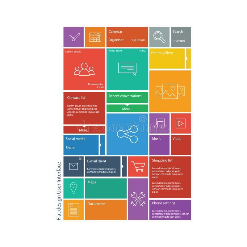平的设计图表用户界面概念与 皇族释放例证