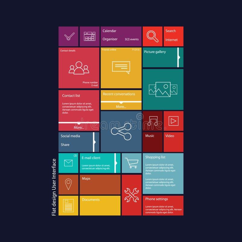 平的设计图表用户界面概念与 库存例证