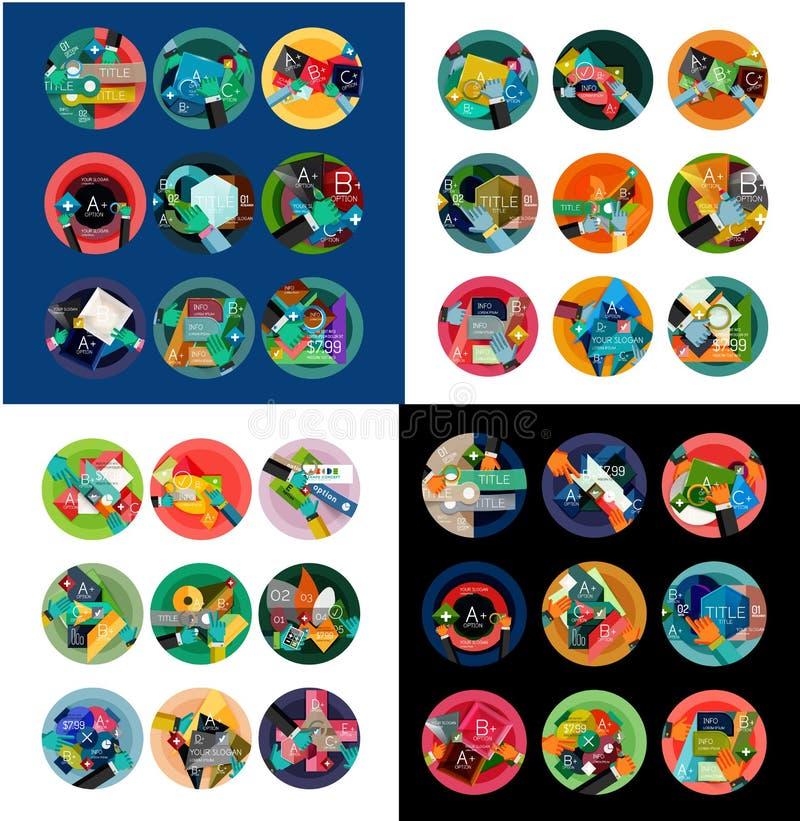 平的设计圆的标签,选择infographics 库存例证