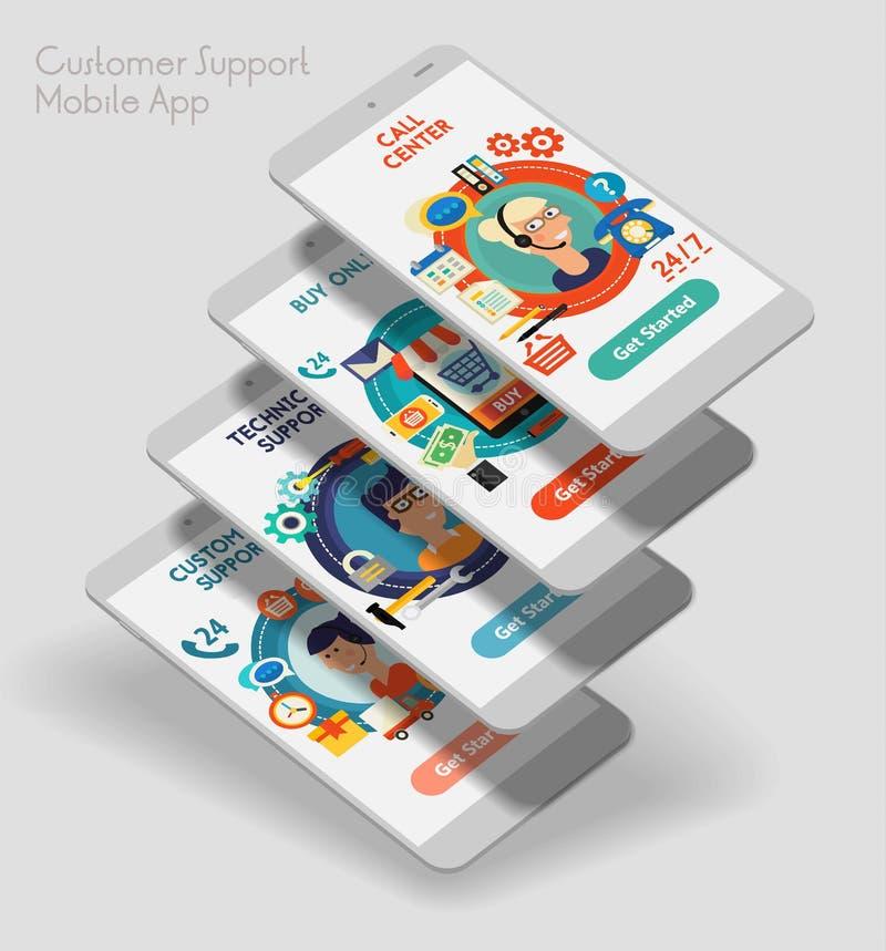 平的设计敏感UI与3d大模型的流动app 皇族释放例证