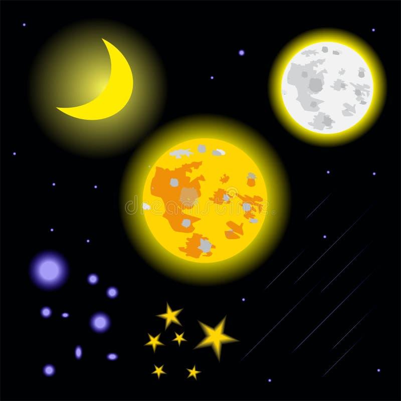 平的设计月亮星和彗星传染媒介 免版税库存照片
