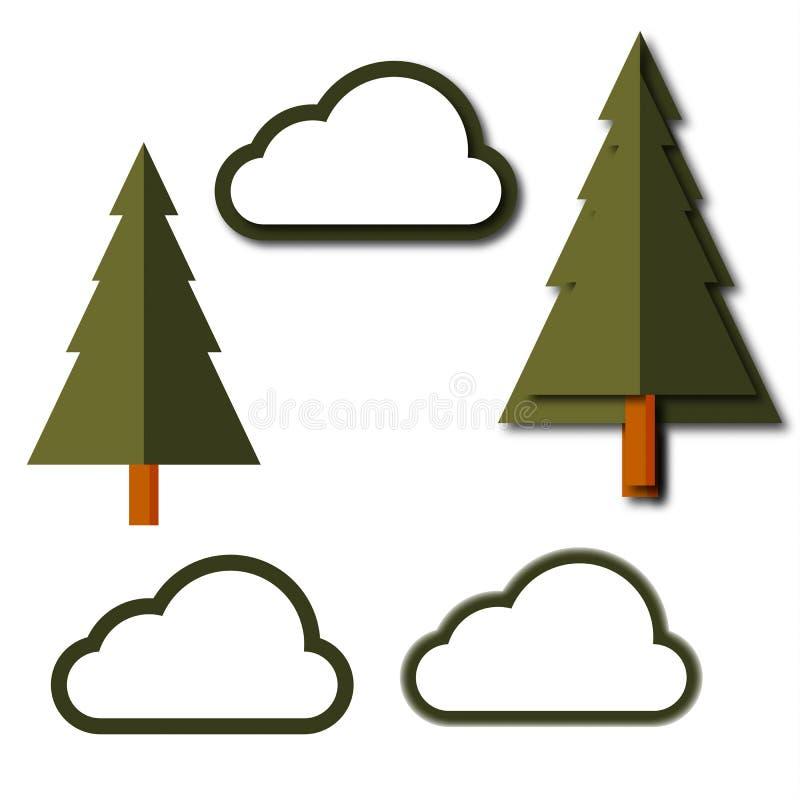 平的设计样式摘要逗人喜爱的绿色树和云彩在时髦 我 库存例证