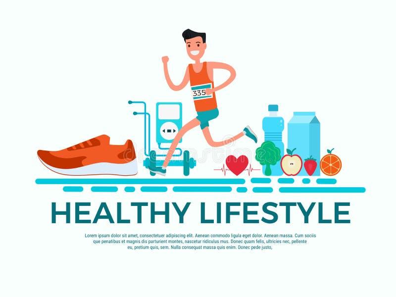 平的设计样式 概念健康生活方式 跑在运动服的成人年轻人 向量例证