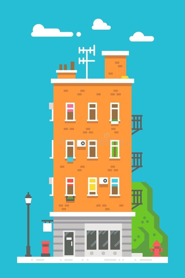 平的设计欧洲五颜六色的公寓 库存例证