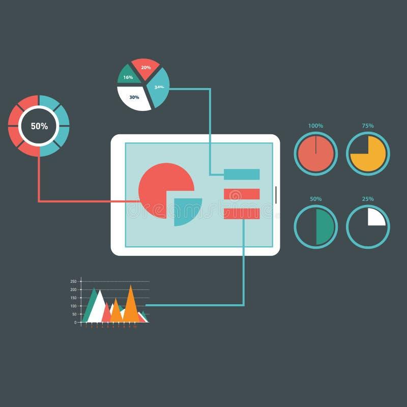 平的设计现代传染媒介例证象设置了网站SEO优化、编程的过程和网分析元素 向量例证