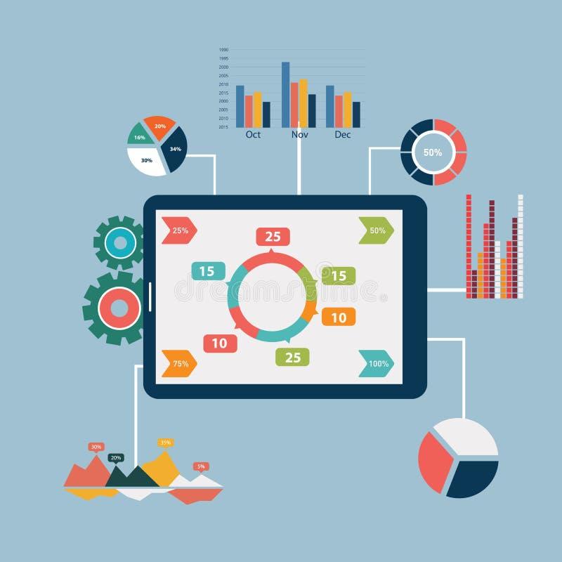 平的设计现代传染媒介例证象设置了网站SEO优化、编程的过程和网分析元素 库存例证