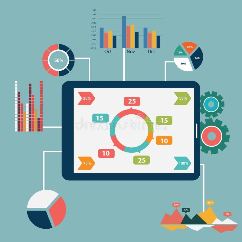 平的设计现代传染媒介例证象设置了网站SEO优化、编程的过程和网分析元素 isola 向量例证