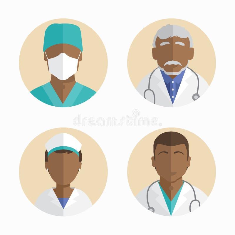 平的设计的例证 非裔美国人的人象收藏 医生和护士 向量例证