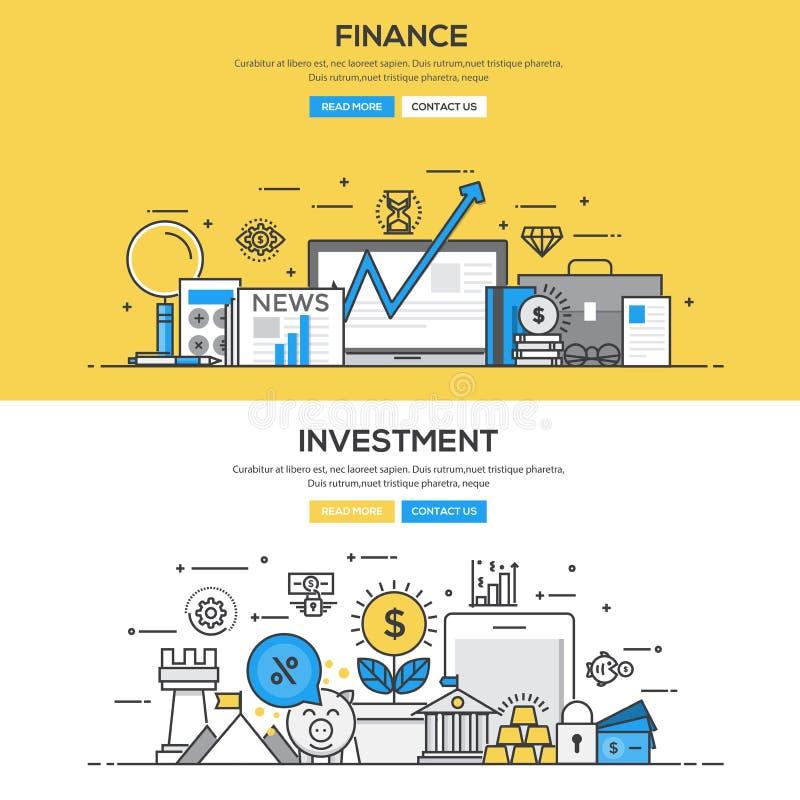平的设计线概念-投资和财务 皇族释放例证