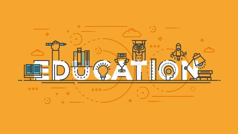 平的设计线概念-教育 向量例证