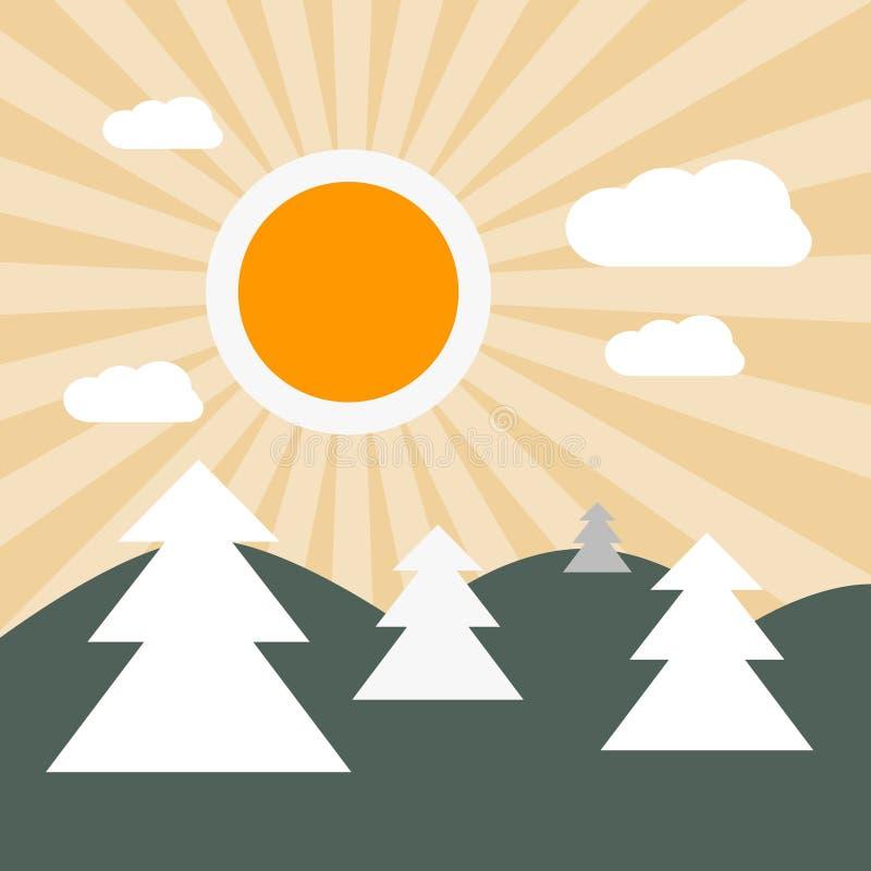 平的设计自然风景例证 库存例证
