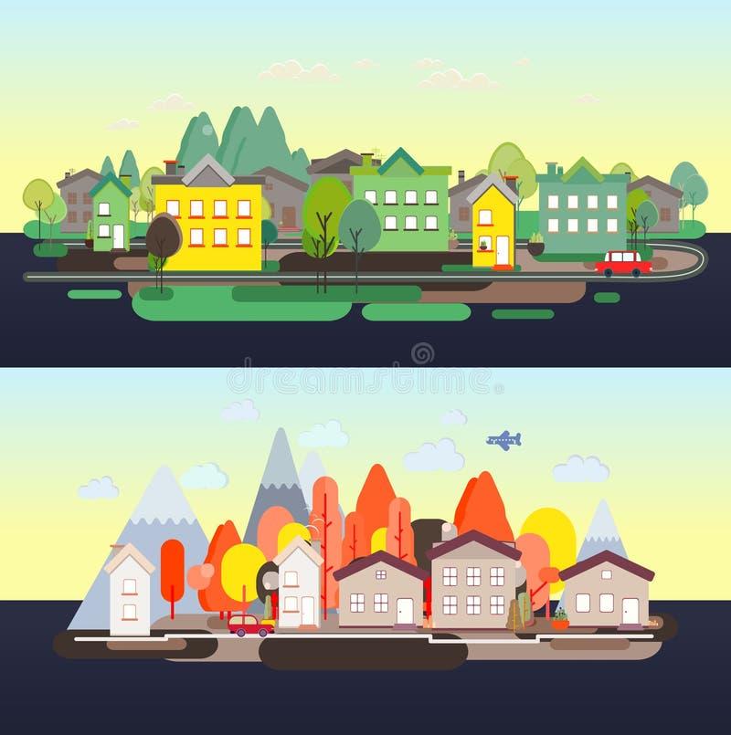 平的设计自然风景旅游业vikend网海报 库存例证