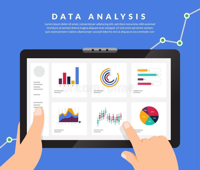 平的设计观念数据分析 形象化与图表并且烧焦 库存例证