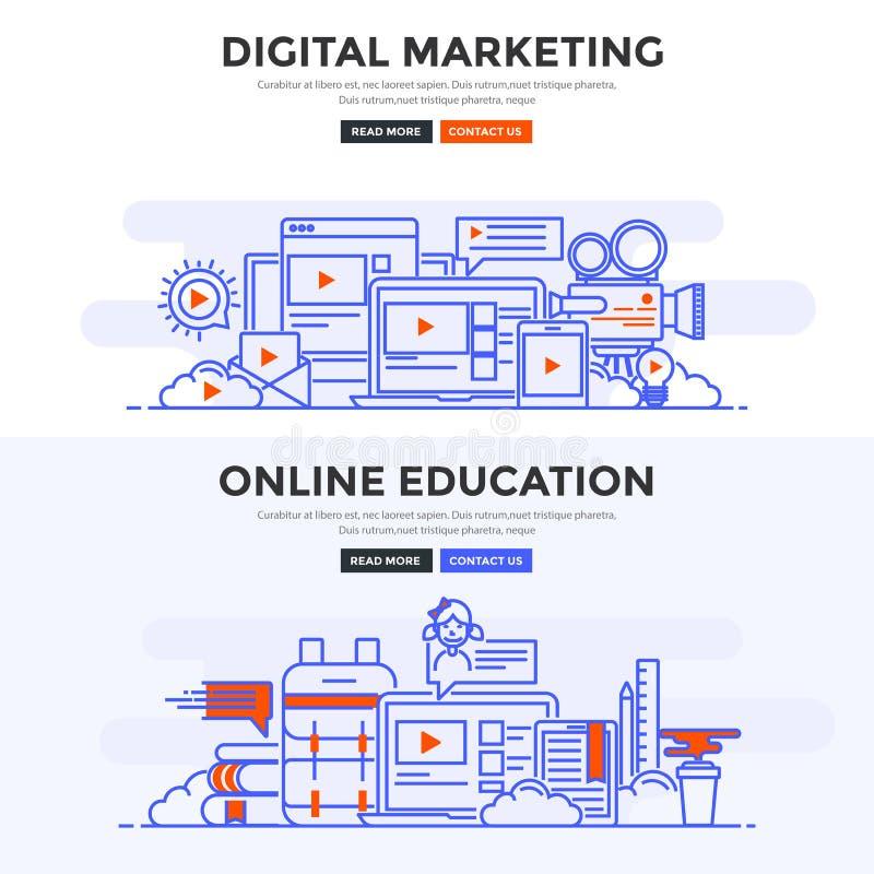 平的设计观念横幅-数字式营销和网上educat 向量例证