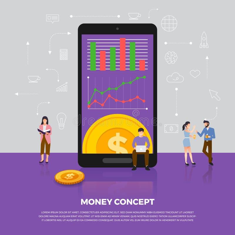平的设计观念货币业务 小组人发展ico 皇族释放例证