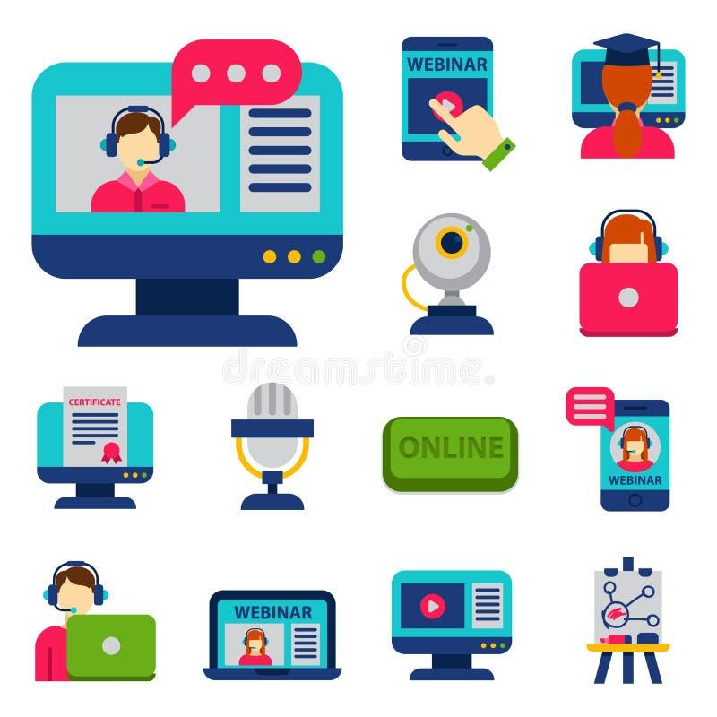 平的设计象网上教育人员培训书店遥远的学习的知识传染媒介例证 库存例证