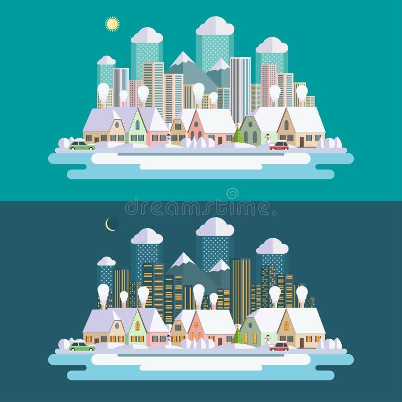 平的设计都市冬天风景例证 库存例证