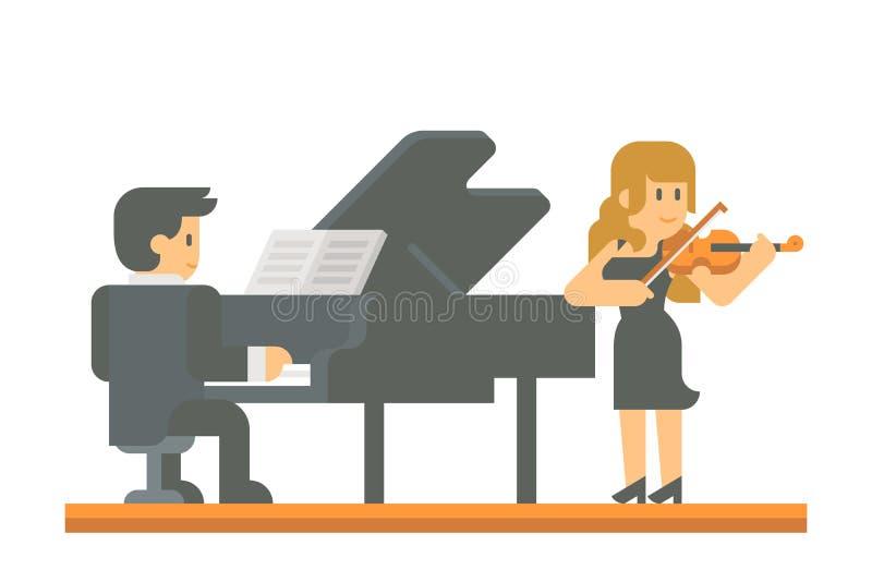 平的设计钢琴和小提琴二重奏 库存例证