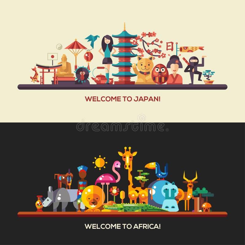 平的设计非洲,日本被设置的旅行横幅 皇族释放例证