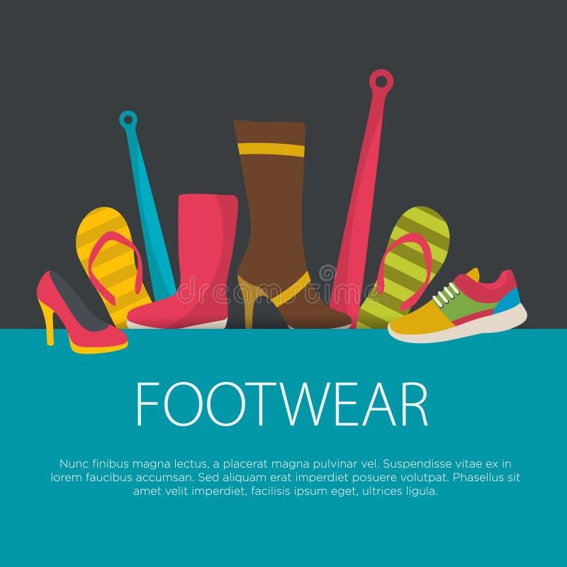 平的设计鞋类概念 库存例证